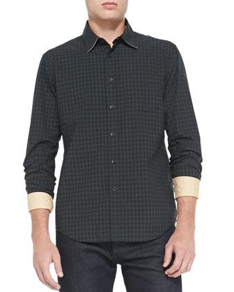 Yokohama Check Long-Sleeve Shirt, Navy