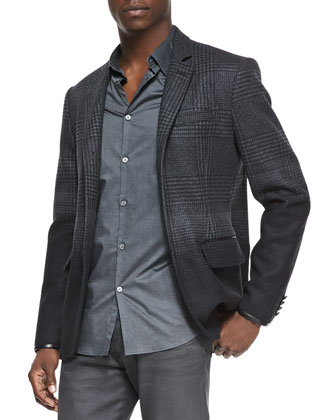 Ombre-Plaid Soft Jacket, Luxe Slim-Fit Button-Down Shirt & Bowery Coated ...