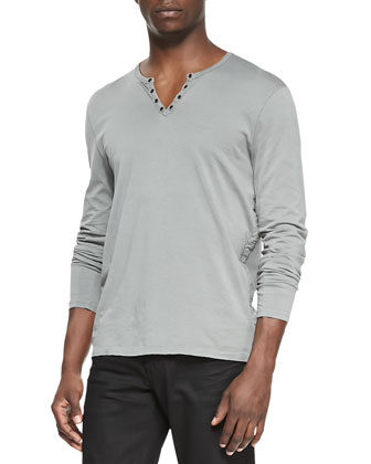 Woven Zip-Front Hoodie, Long-Sleeve Split-Neck Henley & Coated Bowery ...