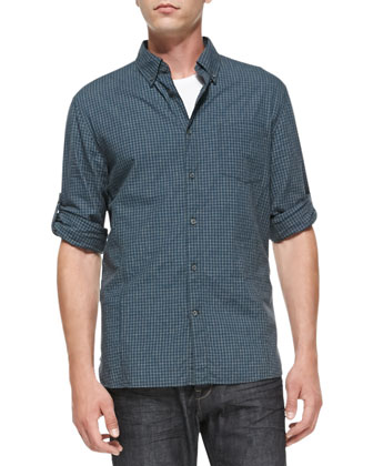 Check Roll-Sleeve Shirt, Blue