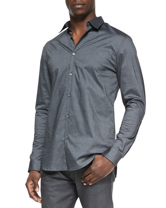 Luxe Slim-Fit Button-Down Shirt, Gray