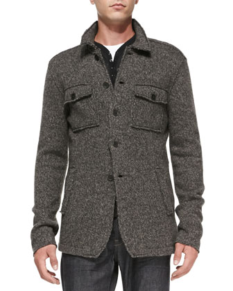 Raw-Edge Sweater Jacket, Burnout Long-Sleeve Henley & Bowery Slim-Fit Denim ...