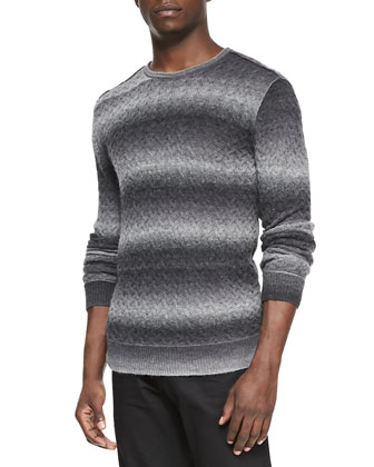 Space-Dyed Crewneck Sweater, Gray Multi