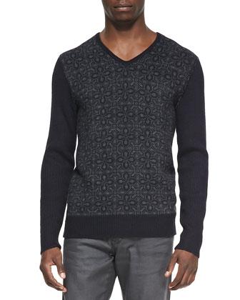 Patterned Front V-Neck Sweater, Navy