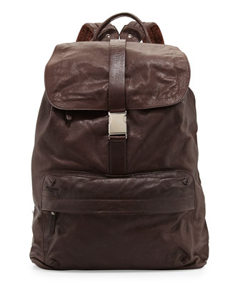 Bufalino Leather Backpack, Dark Brown