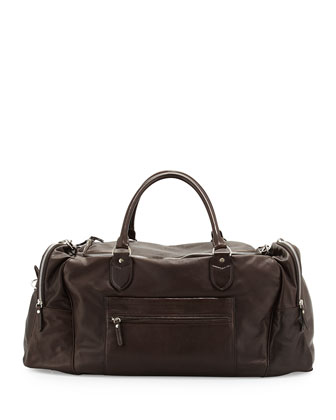 Men's Buffalino Leather Gym Bag, Dark Brown