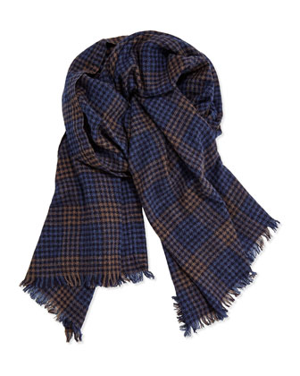 Men's Cashmere Windowpane Scarf