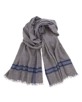 Men's Striped Cashmere-Blend Scarf, Gray/Blue