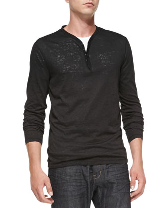 Burnout Long-Sleeve Henley, Black