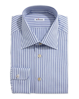 Mixed Stripe Dress Shirt, Blue/Light Blue