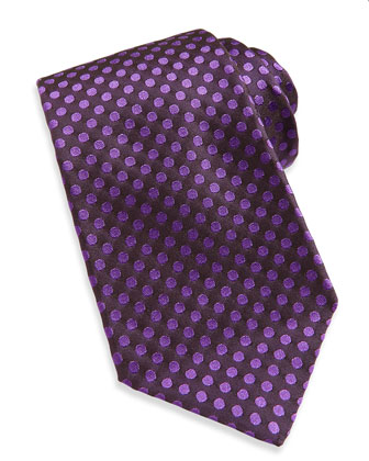 Woven Dot Silk Tie, Purple