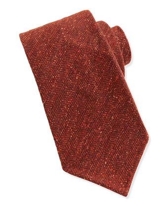 Wool-Blend Herringbone Tie, Orange