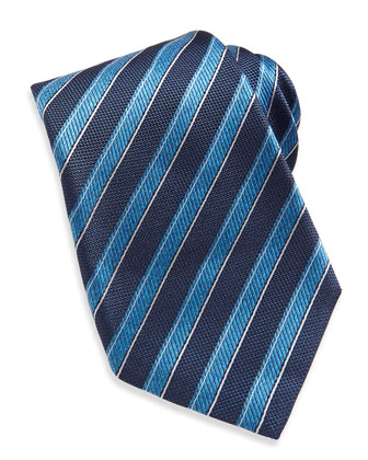 Rope-Stripe Woven Tie, Navy/Blue