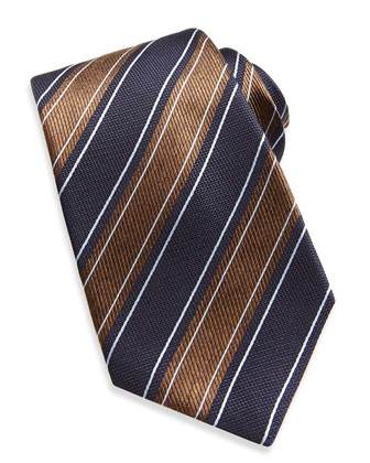 Wide Rope-Stripe Woven Tie, Navy/Brown