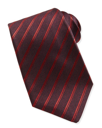 Striped Silk Tie, Red