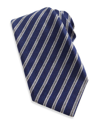 Wool-Silk Stripe Tie, Navy/Gray