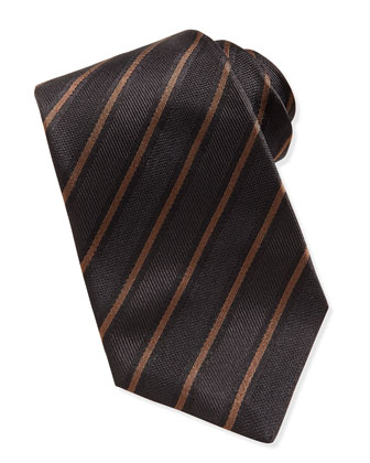 Textured Striped Silk Tie, Brown