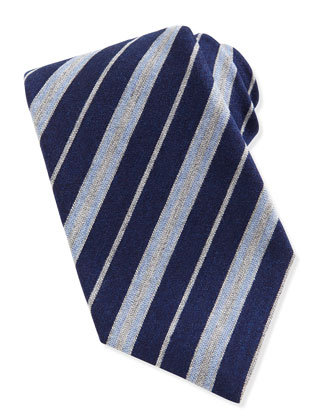 Wool-Silk Herringbone-Stripe Tie, Blue/Gray