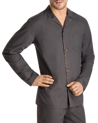 Woven Floral-Trim Pajama Shirt, Dark Gray