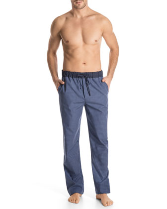Woven Check-Print Lounge Pants, Blue