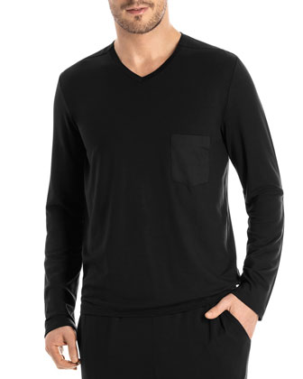 Harrison Long-Sleeve Lounge Shirt, Black