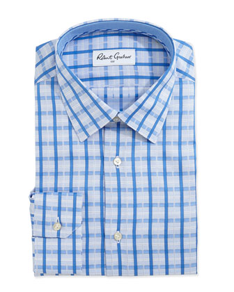 Orson Dotted Check Dress Shirt, Blue