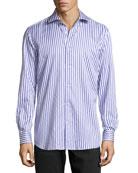 Burt Striped Poplin Dress Shirt, Purple