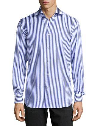 Burt Mixed Stripe Dress Shirt, Dark Blue