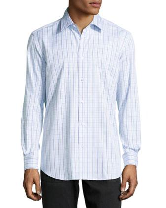 Gabriel Checked Jacquard Dress Shirt, Navy
