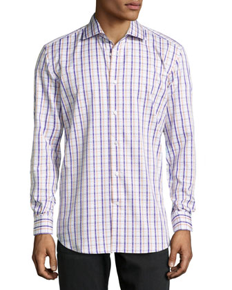 Grady Woven Plaid Dress Shirt, Purple