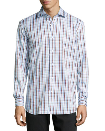 Grady Woven Plaid Dress Shirt, Brown