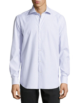 Hale Printed Stripe Dress Shirt, Purple