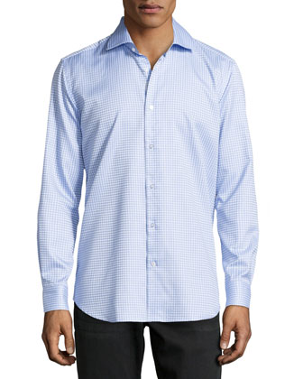 Lyon Checked Oxford Dress Shirt, Blue
