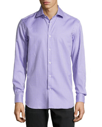 Lyon Checked Oxford Dress Shirt, Purple