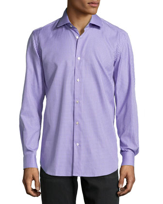 Omega Houndstooth Jacquard Dress Shirt, Purple