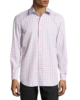 Panter Grid-Check Poplin Dress Shirt, Burgundy
