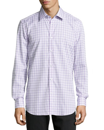 Panter Mixed Check Dress Shirt, Purple