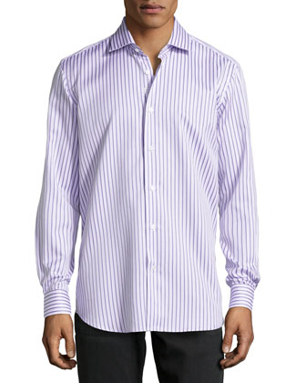 Romeo Twill Striped Dress Shirt, Lavender