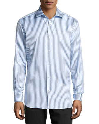 Romeo Striped Poplin Dress Shirt, Blue