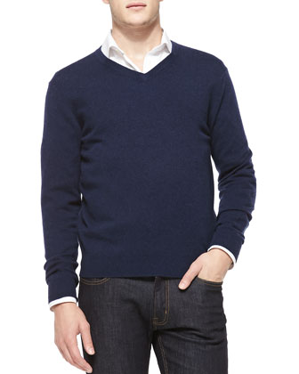 Cashmere V-Neck Sweater, Navy