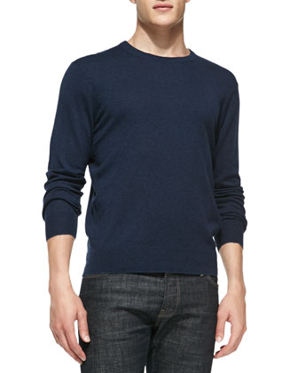 Feeder-Stripe Crewneck Sweater, Navy