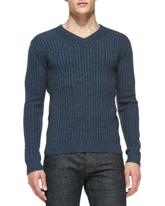 Ribbed V-Neck Cashmere Sweater, Blue