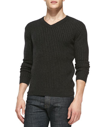 Ribbed V-Neck Cashmere Sweater, Charcoal