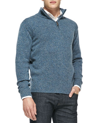 Marled Half-Zip Pullover Sweater, Teal