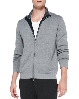 Full-Zip Cotton-Cashmere Blend Cardigan, Gray/Navy