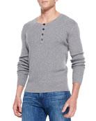 Ribbed Long-Sleeve Henley, Light Gray