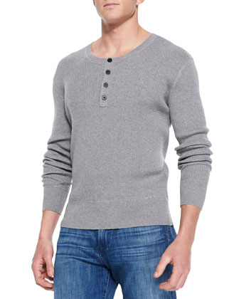 Ribbed Long-Sleeve Henley, Light Gray