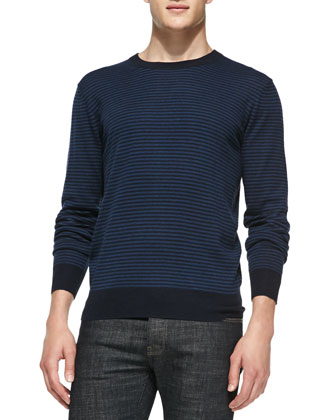 Striped Crewneck Sweater, Blue/Navy