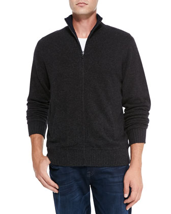 Reversible Zip Cardigan, Charcoal/Navy