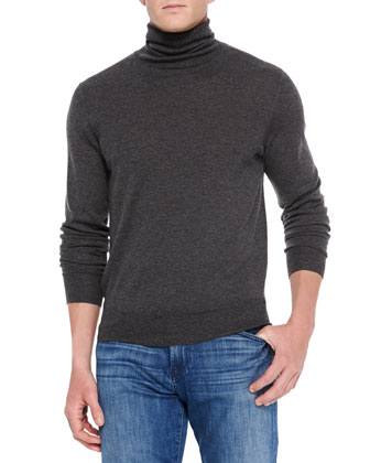 Cashmere/Silk Turtleneck Sweater, Gray